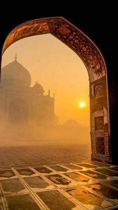 This is the Taj Mahal at sunrise. The Taj Mahal is an ivory-white mausoleum on the south bank of the Yamuna river. Taj Mahal, The Places Youll Go, Places To See, Beautiful World, Beautiful Places, Beautiful Days, Beautiful Mosques, Beautiful Buildings, Amazing Places
