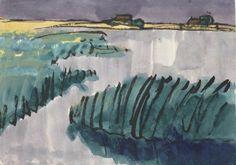 Emil Nolde (1867-1956) Marschlandschaft (Wasser, Schilf am See, zwei Bauernhöfe) c. 1920watercolour and India ink on Japan paper 35.5 x 49.8 cm