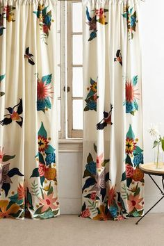 Soaring Starlings Curtain by Rebecca Rebouche in Assorted, Curtains at Anthropologie No Sew Curtains, Double Curtains, Home Curtains, Velvet Curtains, Eclectic Curtains, Printed Curtains, Bird Curtains, Luxury Curtains, Colorful Curtains
