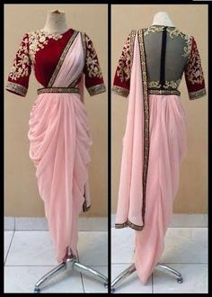 Buy Pink And Red Color Dhoti Saree by Akanksha Singh at Fresh Look Fashion Dhoti Saree, Saree Gown, Lehenga Choli Online, Netted Blouse Designs, Saree Blouse Neck Designs, Lehenga Designs, Saree Wearing Styles, Saree Styles, Indian Designer Outfits