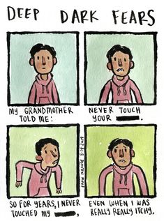 An itch only you can't scratch. A fear submitted by Özcan to deepdarkfears.com/submit - thanks! Check out my DDF books, available online and wherever books are sold! deepdarkfears.com/book. Fear Book, Deep Dark Fears, Nothing To Fear, Dark Memes, Tumblr Funny, Hetalia, Comic Strips, Scary, Fun Facts