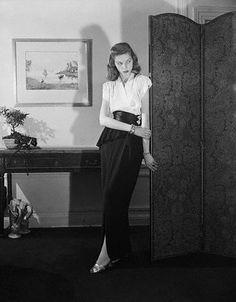 Lauren Bacall in Adele Simpson, 1945.
