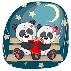 Lovers Pandas vector image on VectorStock Panda Wallpaper Iphone, Panda Wallpapers, Panda Kawaii, Cute Panda, Kids Cartoon Characters, Cartoon Kids, Urso Bear, Animal Nail Designs, Valentine Nail Art