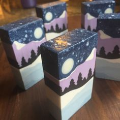I've been dreaming of how I could make this soap since we did the Landscape Challenge  -- it's the flip side of my neon-bright ocean sunset:...