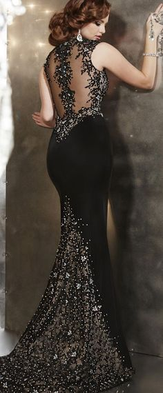 Glamorous Tulle & Chiffon High Collar Neckline Mermaid Evening Dresses With Beaded Lace Appliques