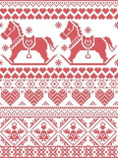 Scandinavian Printed Textile style and inspired by Norwegian Christmas and festive winter seamless pattern in cross stitch with snowflakes, rocking horse, angels hearts and decorative ornaments Embroidery Hearts, Folk Embroidery, Christmas Embroidery, Cross Stitch Borders, Cross Stitch Designs, Cross Stitch Patterns, Fair Isle Chart, Norwegian Christmas, Diy Stockings