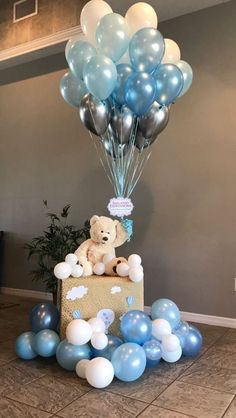 Unique Baby Shower Themes, Cute Baby Shower Ideas, Cute Baby Shower Gifts, Baby Shower Decorations For Boys, Baby Shower Centerpieces, Teddy Bear Centerpieces, Its A Boy Balloons, Baby Shower Balloons, Blue Balloons