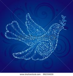 Christmas dove with star - stock vector