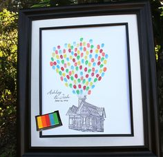 Custom Wedding Guest Book Unique Wedding Guest Book Alternative Flying House UP Wedding Thumbprint ink pad Personalized Wedding Gift on Etsy, $48.00