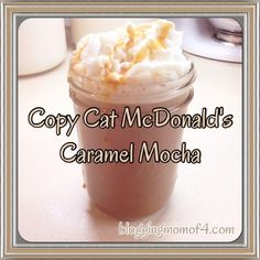 Love McDonald's Caramel Mocha but don't like the price? Here's how you can make a copy cat McDonald's Caramel Mocha right at home. Frappe Recipe Mcdonalds, Mcdonalds Caramel Frappe, Mcdonalds Iced Coffee, Starbucks Food, Starbucks Recipes, Gourmet Recipes, Dessert Recipes, Cooking Recipes, Gourmet Foods