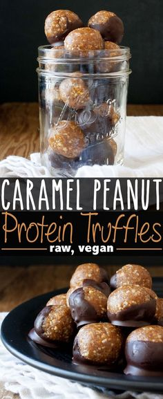 Caramel Peanut Protein Truffles | Need a healthy dessert recipe that won't ruin your diet? These bite sized treats are great for after dinner or to grab as a quick snack. Pin this clean eating snack recipe for later.