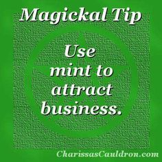 Magickal Tip - Minty Fresh Business – Charissa's Cauldron - Pinned by The Mystic's Emporium on Etsy Hoodoo Spells, Magick Spells, Witchcraft, Prosperity Spell, Beauty Spells, Healing Spells, Healing Herbs, Witch Herbs, Herbal Magic