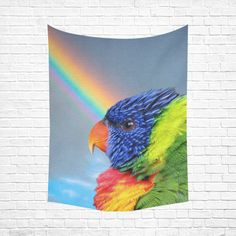 "Rainbow Lorikeet Cotton Linen Wall Tapestry 60""x 80"""