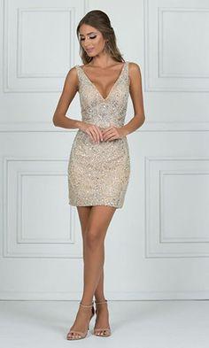 Vestido curto dourado com pedraria vestido bordado curto, vestido curto Sexy Dresses, Grad Dresses, Homecoming Dresses, Short Dresses, Fashion Dresses, Formal Dresses, Dress Skirt, Dress Up, Bodycon Dress