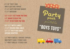 Boys Toys Fun Transport PARTY PACK | Car Bus Truck Train Birthday Banner Party Decoration Invite Cake Topper Labels Tags Flags Printable PDF - by fatfatin