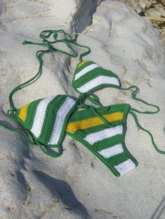Jamaican crochet bikini striped in White Green Yellow bikini Crochet Swimwear Crochet beachwear crochet swimsuit Boho bikini String bikini Crochet Bathing Suits, Crochet Halter Tops, Crochet Bikini, Yellow Bikini, Striped Bikini, Dressy Tops, Boho Swim Suits, Crochet Cover Up, Vintage Bikini
