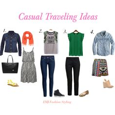 """Casual Traveling Outfit Ideas"" by Elsie Jaime www.emjfashion.com"
