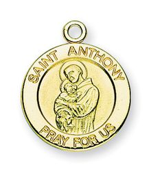 Gold over Sterling Silver Round Shaped St. Anthony Medal by HMH | Catholic Shopping .com