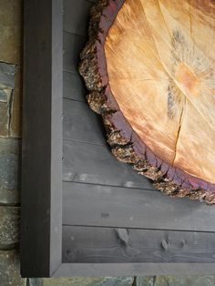 """Interior Design Trends: Natural Elements. Here a 40"""" slice of a tree is used as a work of art. The HGTV 2014 Dream Home."""