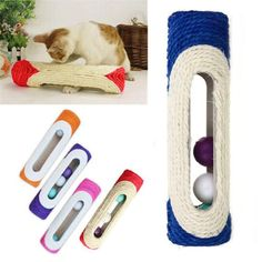 There are 3 small balls with sand sound inside the roller Pets are very interested in the smell of sisal, It is cats' favorite Designed…