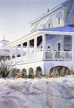 Beach House   Watercolor by Judith Glover