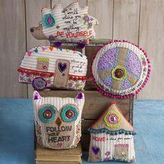 Owl Follow Your Heart Boho Mattress Ticking Pillow