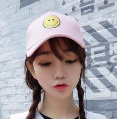 Embroidered emoji smile baseball cap for women sun caps