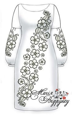 РАд-16 Indian Embroidery Designs, Hand Embroidery Design Patterns, Kurti Embroidery Design, Embroidery Flowers Pattern, Simple Embroidery, Embroidery Fashion, Fancy Dress Design, Stylish Blouse Design, Dress Design Drawing