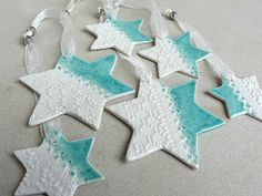Porcelain ceramic star ornaments gift tags by SpringwoodPorcelain, $29.00
