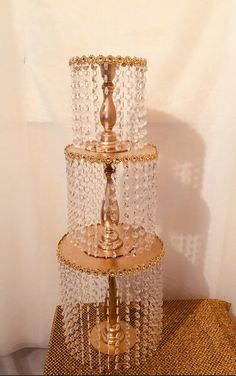 Gold Cake Stand/ Chandelier Cake Stand Chandelier Cake Stand, Chandelier Centerpiece, Wedding Cake Stands, Wedding Table Flowers, Turquoise Centerpieces, Silver Cake Stand, Acrylic Cake Stands, Cake Table Decorations, Table Centerpieces