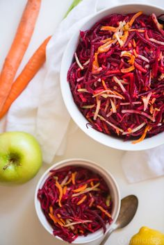 Beet, Carrot & Apple Salad will make your tastebuds dance with flavor. The sweet carrot & apple balance out the earthy beets. Simply tasty! | StupidEasyPaleo.com | StupidEasyPaleo.com