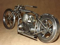 Chopper style motorcycle metal sculpture