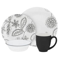 Corelle Vive 16-Piece Set, Reminisce Set Includes: 16 Piece Shape: Round Product Features: Dishwasher Safe, Microwave Safe Material: Vitrelle Glass, Stoneware Style: Modern Pattern: Floral Color: Grey