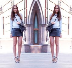 Leather Skirt (by Nika H) http://lookbook.nu/look/4127662-Leather-Skirt