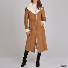 Excelled Women's Full Length Faux Shearling Coat