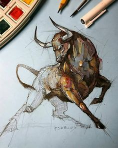 incredible animal sketches by psdelux no copyright infringement intended contact to fix remove 50433 Animals drawings Watercolor Art, Animal Art, Sketches, Animal Drawings, Art Drawings, Drawings, Animal Sketches, Bull Art, Bull Painting