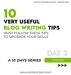 10 Blog Writing Tips - A 10 Days Series - Day 3  Contact us now: support@content-kart.com Visit us at: www.content-kart.com  #marketingteam #marketingguru #marketingderede #contentmarketing #businessinsider #businessgrowth #businessadvice #businessmind #contentment #contentwriters #contentplanning #trendingformat Marketing Guru, Content Marketing, Blog Writing Tips, Contentment, Business Advice, Writing Services, 10 Days, Writer, Writing Tips