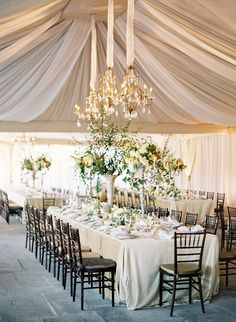 Elongated table #reception design with tall floral centerpieces
