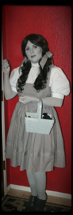 Dorothy Wizard of Oz Halloween costume   Greyscale   Black and White