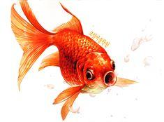 #물고기 #개체묘사 #기초디자인 #금붕어 #물고기개체묘사 Hyperrealism, Tropical Fish, Collage Art, Drawings, Artwork, Painting, Wood Art, Pisces, Pen And Wash