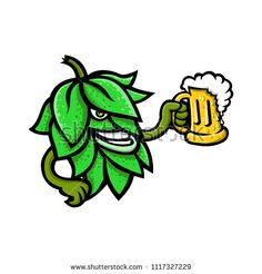 Mascot icon illustration of a beer hops, flower or seed cones or strobiles of the hop plant drinking a mug of ale viewed from side on isolated background in retro style. Hops Plant, Beer Hops, Retro Illustration, Retro Style, Retro Fashion, Ale, Drinking, Royalty Free Stock Photos, Flowers