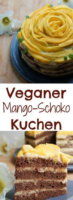 Veganer Mango-Schokoladenkuchen mit leckerer Cremefuellung