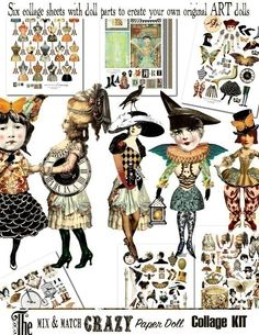 Paper Doll Kit  Mix and Match  Endless Vol.1 - 6 Digital Collage Print Sheets no208