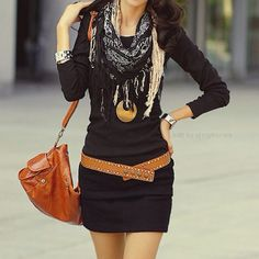 3/4 length sleeve black dress, perfect for Fall and still show some leg :)