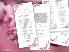 Printable Wedding ceremony 2 sided program template  by Oxee, $7.00