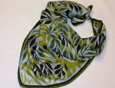 Vera Silk Scarf  leaves  green  vintage by TheSassySewer on Etsy, $18.95