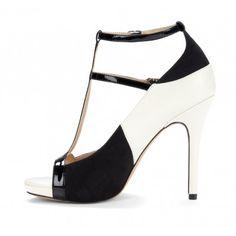 Sole Society Black and White - T-strap heels - Malia