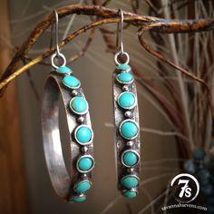Brit Earrings – sterling silver and turquoise hoop earrings from Savannah Sevens Western Chic