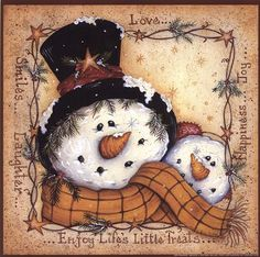 Happy Snowman Fine Art Print by Mary Ann June at FulcrumGallery.com