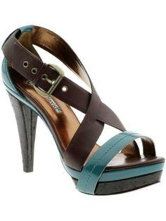 1565164b0ae Charles David Ticket   Strappy two-tone sandal   4 cork wrapped heel